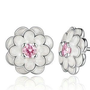 White Flower 3MM Pink CZ Center Enamel 925 Silver